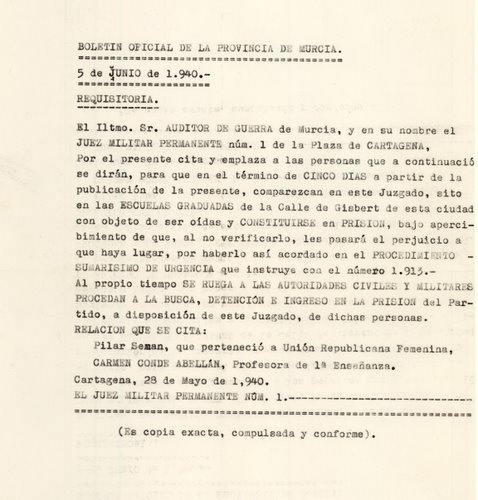 Primera requisitoria contra Carmen Conde, 5 de junio de 1940.