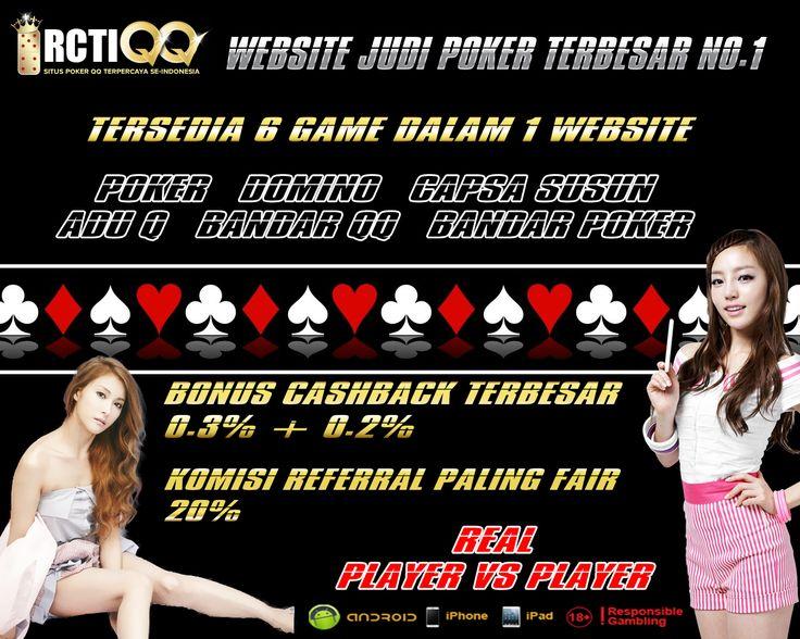 RCTIQQ.COM adalah merk hiburan online yang fokus untuk menawarkan 6 produk game Texas Hold'em Poker, Domino 99, Capsa susun, Adu Q, Bandar QQ, Dan Bandar Poker dengan target pasar Indonesia.