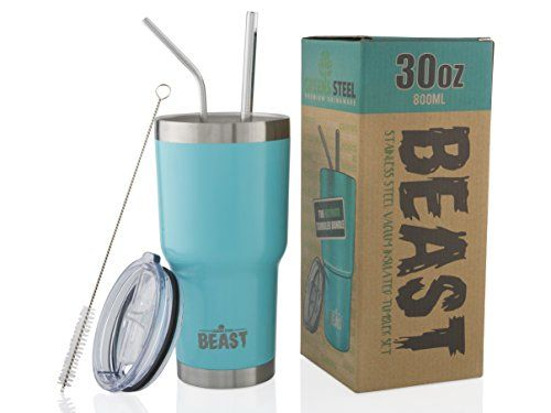 BEAST 30 oz Tumbler Stainless Steel Insulated Coffee Cup with Lid, 2 Straws, Brush & Gift Box by Greens Steel (30oz, Aquamarine Blue). For product info go to:  https://all4hiking.com/products/beast-30-oz-tumbler-stainless-steel-insulated-coffee-cup-with-lid-2-straws-brush-gift-box-by-greens-steel-30oz-aquamarine-blue/