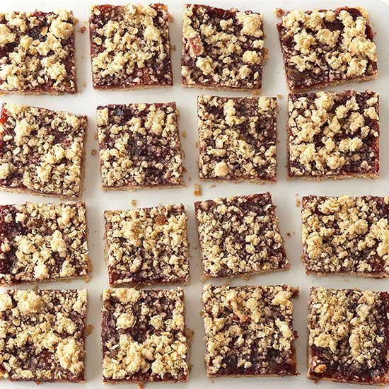 Adding cream cheese to the batter makes these sweet-tart bars melt in your mouth. A sugary oat topping gives this treat the perfect crumbly texture.