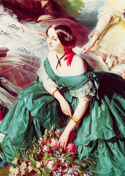 """Detail of the Marquise of Montebello from the painting: """"Empress Eugénie Surrounded by her Ladies in Waiting"""" by Franz Xaver Winterhalter"""