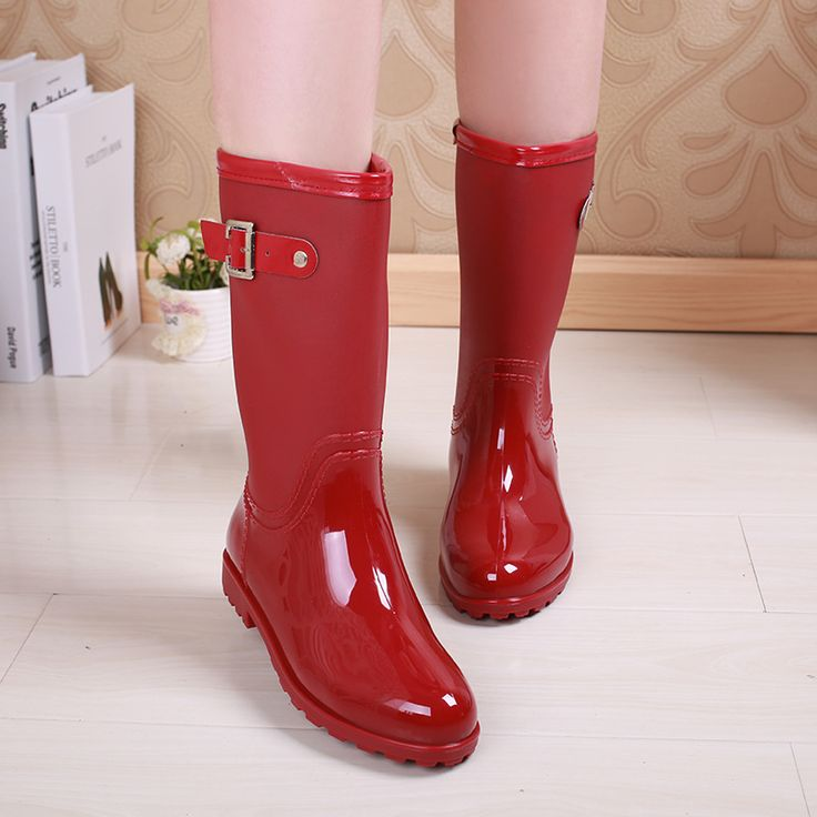Red Ladies Waterproof Rain Boots Women Rubber Breathable Fashion Buckle Solid Color Rainboots Water Shoes Botas Mujer Quality