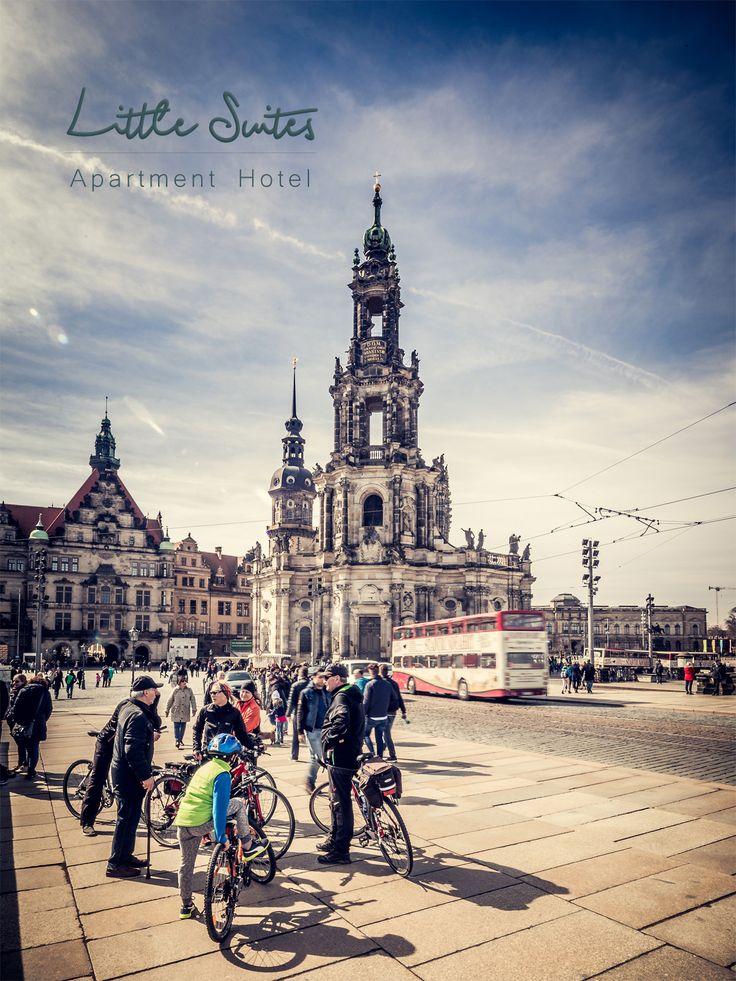 Fahrradfahrer Hofkirche Dresden