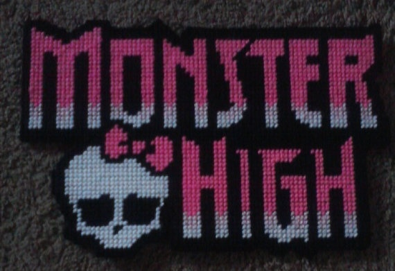 Monster High Logo Plastic Canvas Pattern by BearySweetCreations, $3.00: Canvas Cartoon, Canvas Ideas, High Pc Cs Hpb, Monster High, Hight Xxx, Plastic Canvas Patterns, Logo Plastic