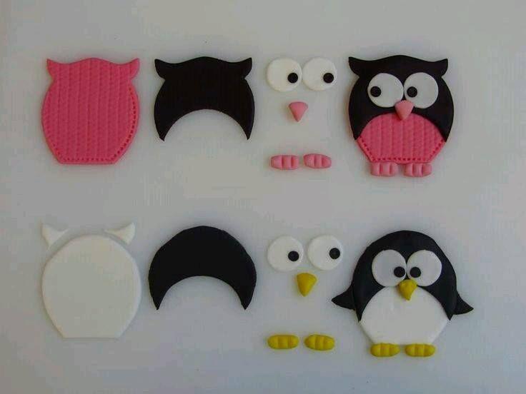 owl búhos y pingüino  porcelana fria paso a paso