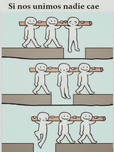 Si nos unimos nadie cae.  Gálatas 6:2   Ayúdense unos a otros a llevar sus cargas, y así cumplirán la ley de Cristo.