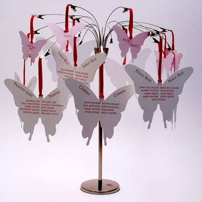 Butterfly Table Plan Tree from White Satin Wedding Stationery    This is a fantastic idea for a wedding table plan.