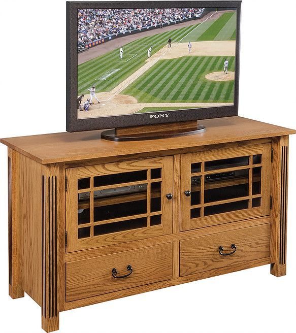 Carlisle Fluted Mission Plasma TV Stand|Oak in Fruitwood OCS102|54in W x 20in D x 30in H|The Amish Home|Amish Furniture at the Pittsburgh Mills