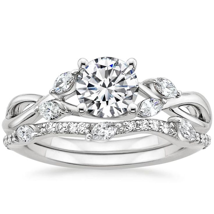 18K White Gold Willow Diamond Ring with Luxe Willow Diamond Wedding Ring (1/3 ct. tw.)