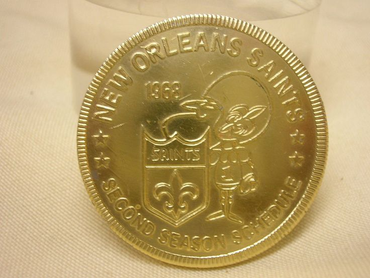Vintage 1968 New Orleans Saints Schedule Token Coin Second Season Falstaff 1 1/2