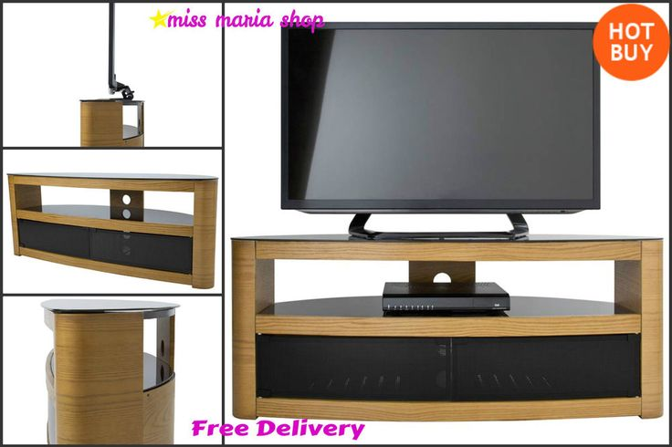 Oak TV Stand Corner Cabinet Furniture Television Entretainment Unit Wooden Table