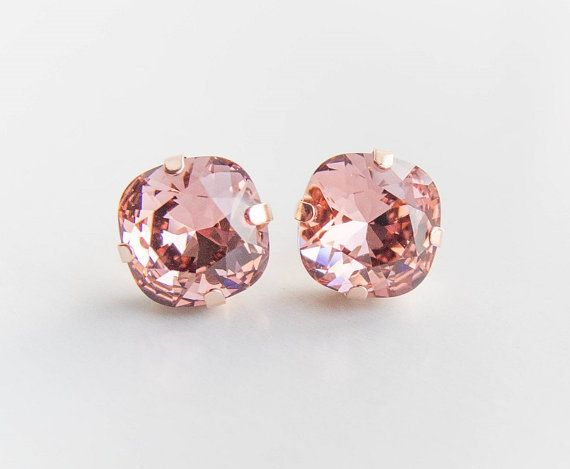 Blush Rose Crystal Earrings . swarovski crystal studs . rose or yellow gold . bridal jewelry by CocoroJewelry