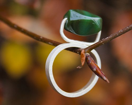 Green Agate Ring by Corrinne Eira Evans. 'Closely studying the botanical prints of the Victorian era, enjoying their graphic qualities, elegant lines, composition and bold colour's, I strive to meticulously capture and translate these elements into jewellery for the 21st Century.'