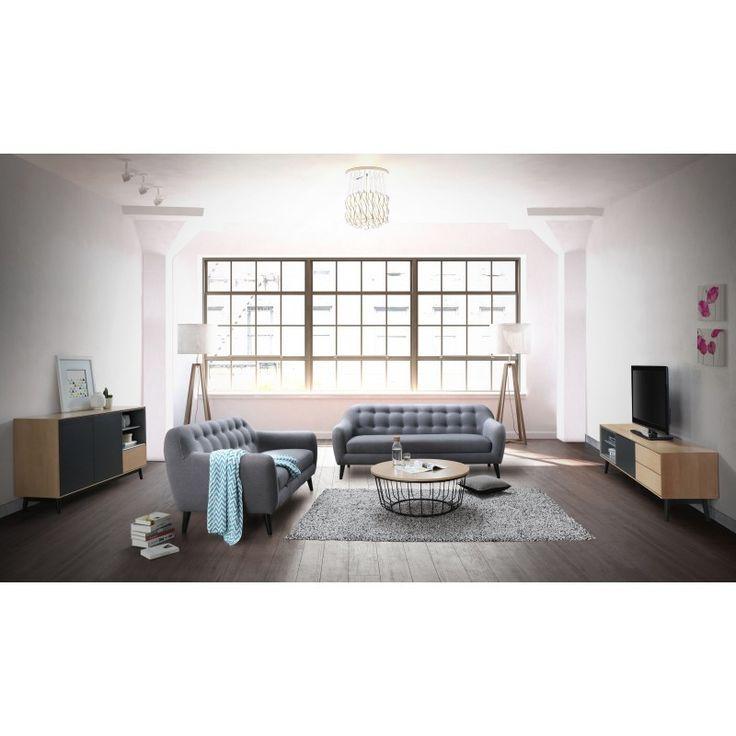 Le Canapé droit fixe scandinave 2 places VLADA en tissu transformera votre salon pour une ambiance chaleureuse et élégante.