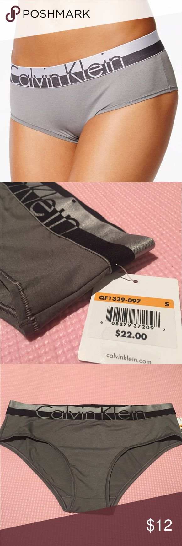 Calvin Klein Silver Hipster Panties Casual, stretch-cotton thong Logo elasticized band Cotton/elastane Machine wash Imported Never Been Worn! Still have tags on Calvin Klein Underwear Intimates & Sleepwear Panties