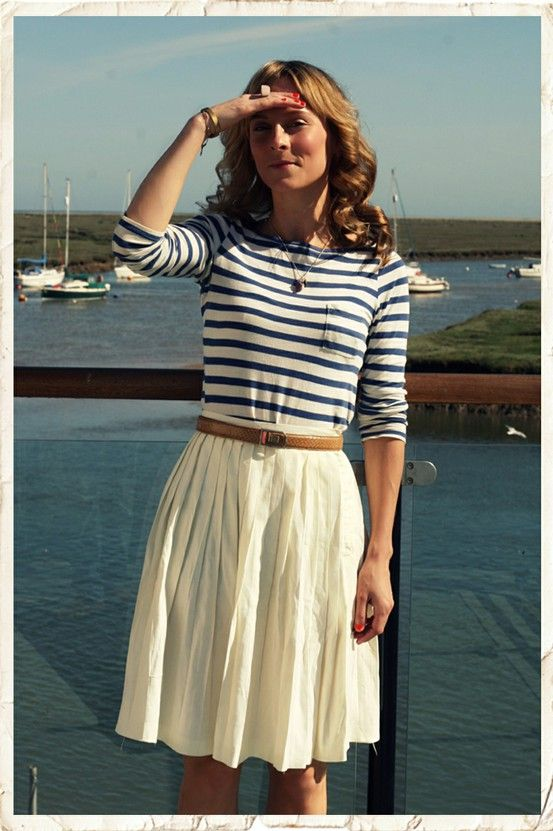 striped top and white skirt