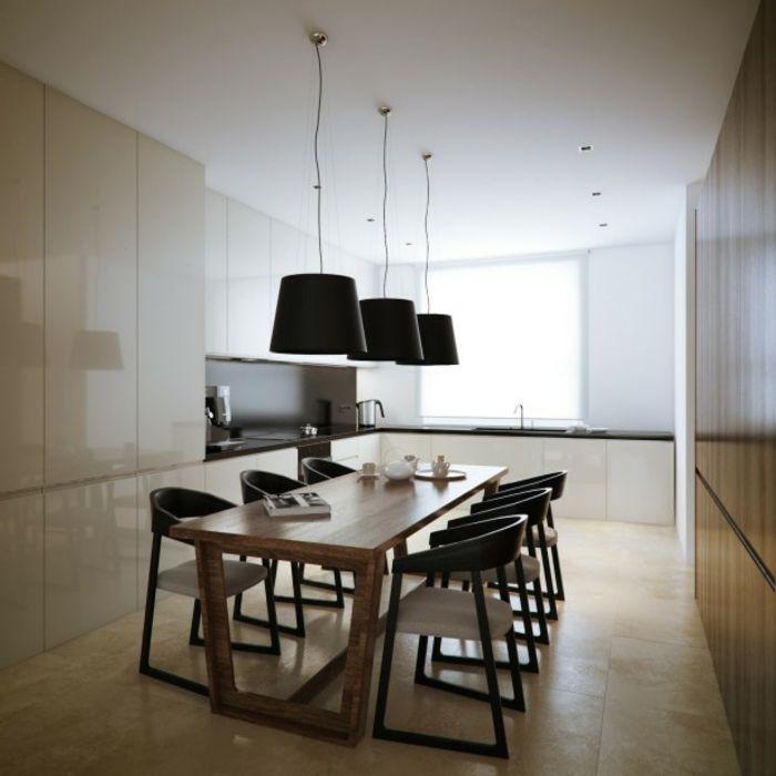 decoracion salon comedor, mesa de madera rectangular, sillas negras, lámparas negras, cocina, baldosas