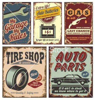 Vintage car signs vector on VectorStock®