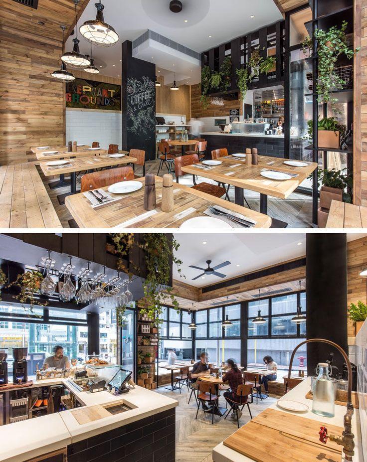 内部では、黒のサービスエリア、黒板の壁や窓枠には、カフェ全体で使用される木材と白の詳細を対比。