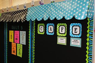 Cute idea to use gift wrapping and toilet paper tubes to make an bulletin board awning
