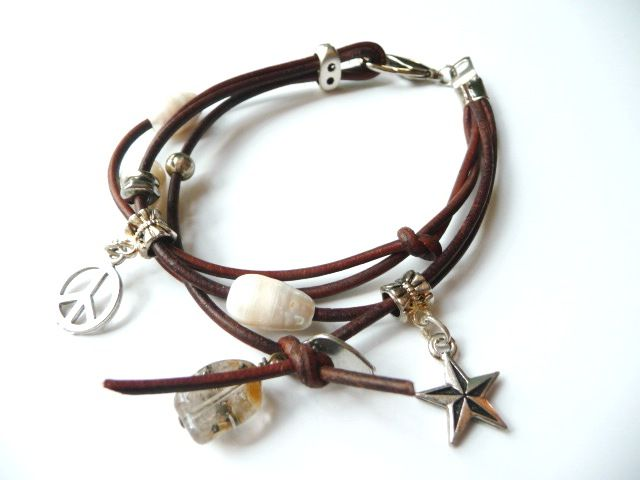 Leather Charm Bracelet with Freshwater Pearl and Pewter Charms $26.95 blingbeads@bigpond.com www.blingbeadssa.com.au 8261 2374