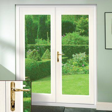 Image of La Porte White French Door Pair & Frame Set with Brass Fittings