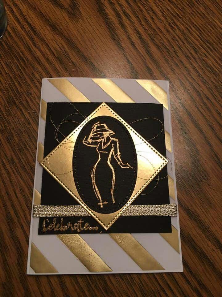 Stampin Up Beautiful you black & gold card