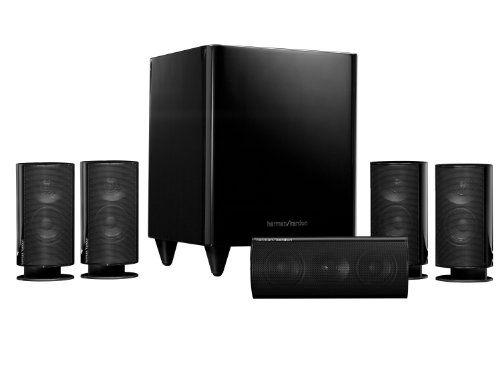 Harman Kardon HKTS 20BQ 5.1 Home Theater Speaker System (Black) Complete 5.1 home-theater speaker system. Eight-inch, 200-watt, powered subwoofer. Four identical, video-shielded, two-way satellite speakers. Voice-matched, video-shielded, two-way dual-driver center speaker. Includes all cables, satellite table stands and wall brackets for satellites and center.  #Harman_Kardon #Speakers