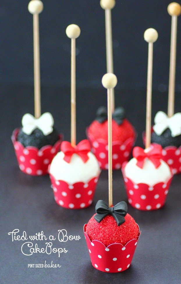Perfect little Red, White and Black Fancy Cake Pops. Easy to make with pre-made candy bows.