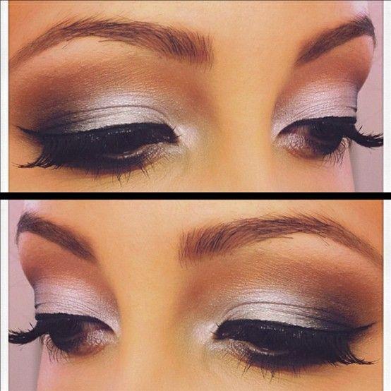 Silver Smokey eyes. Tip: try using. Warmer crease color when using cool toned shadows to make your eye makeup pop!Weddingmakeup, Eye Makeup, Beautiful, Eyeshadows, Eyemakeup, Smokey Eye, Wedding Makeup, Hair, Prom Makeup