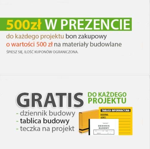 Kupując gotowy projekt domu na portalu Archido.pl, otrzymasz w gratisie dziennik i tablicę budowy, teczkę na projekt oraz bon w wysokości 500 zł na wszystkie materiały budowlane w firmie BK Business.