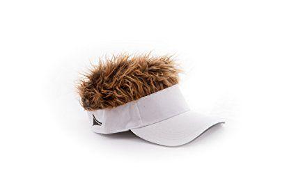 Flair Hair Novelty Adjustable Visor with Spiked Hair Joke/Gag Visor/Hat/Cap