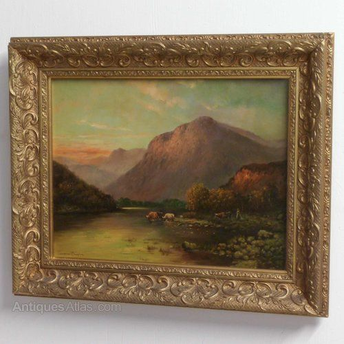Genuine oil on canvas signed Cameron Douglas but very likely by Douglas Cameron (1875-1925). This is a highland scene of a mountainous backdrop and river to the fore, with cattle drinking their fill. The sky has a marvellous warm glow which really sets the painting off.