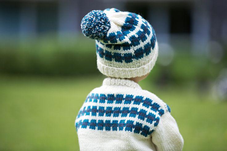 "Jacket and hat from the 70/80s design collection ""Barnestrikk fra Mørkeloftet"". Fun designs from Sandnes Garn."