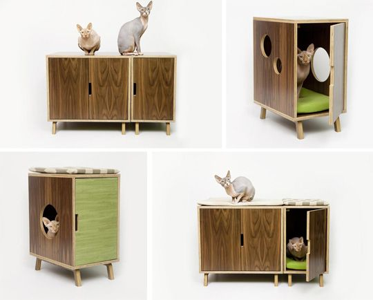 Introducing the Newly Redesigned Modernist Cat: Mid-Century Modern Feline Furniture- If I was into modern design this would be so cool.