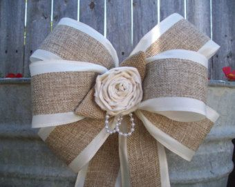 Burlap and Satin Bows, Burlap Wedding, Aisle Decor, Rustic Wedding, Cottage Chic Wedding, Pew Bows