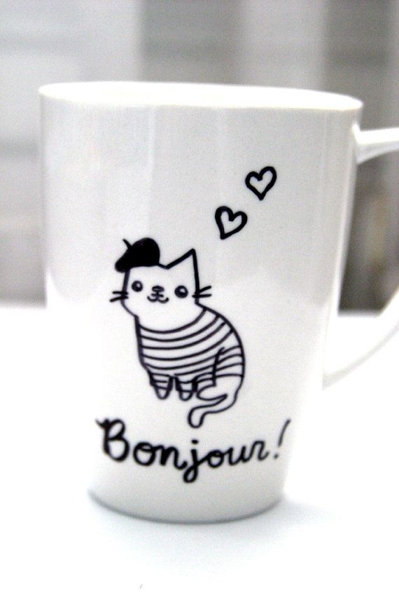 HandDrawn Mug French Mustache Cat Paris Bonjour by BraveMoonman, $6.00