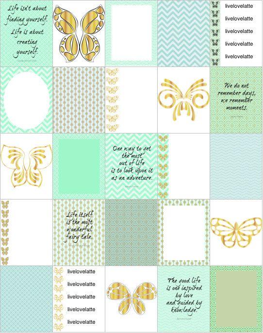 MINT GOLD BUTTERFLIES Life Erin Condren (Vertical) Planner Stickers - digital - INSTANT DOWNLOAD by LiveLoveLatte on Etsy