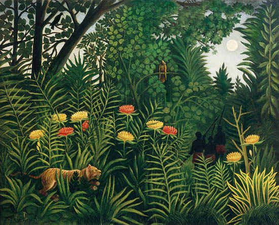 Henri Rousseau painting Jungle with Tigers and Hunter