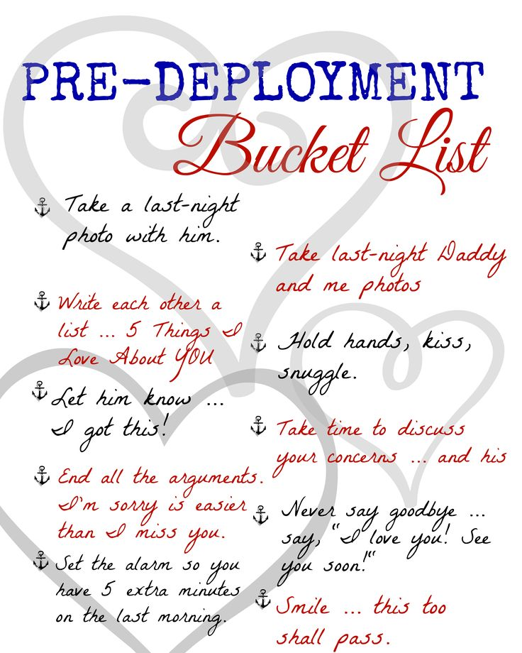 A Pre-Deployment Bucket List: FREE Printable