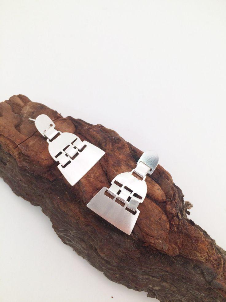Pendientes Mapuche, pendientes de plata, pendientes Trapelacucha, pendientes de tornillo, inspirado en la cultura Mapuche.