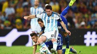 Lionel Messi of Argentina scores the team's second goal