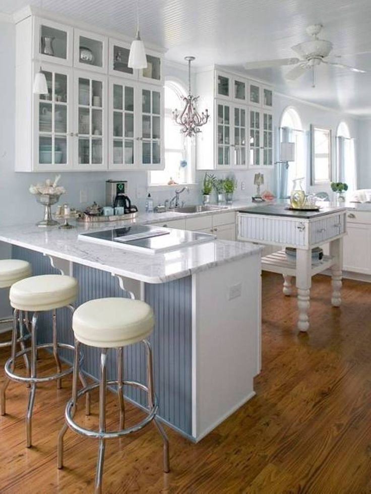 Picture Of White Bright Open Kitchen Design Ideas With Sectional Soft Blue  Kitchen Island Mixed With White Sleek Countertop: Tremendous Open Kitchen  Floor ... Part 41