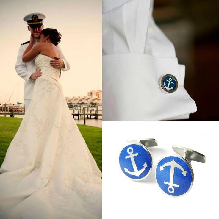 XX w., Spinki do mankietów, dek. motywem kotwicy, srebro pr. 0,925, niebieska emalia, masa: 15,22 g #sailor #wedding #proposal