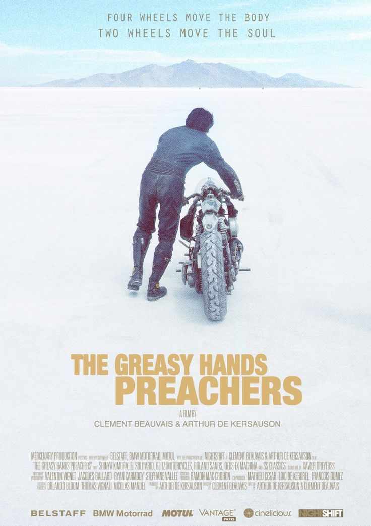 This weekend, the Greasy Hands Preachers film is finally, finally released on Vimeo. It's is a celebration of manual work, seen through the lens of motorcycle enthusiasts. Shot on Super 16, it takes you all over the world, with stopovers in France, the USA, Scotland, Spain and Indonesia. And the cast is a roll call of big name builders, from Roland Sands to Shinya Kimura to El Solitario MC and Blitz Motorcycles. Click through for details to download or stream.
