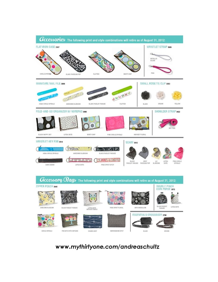 Here is page 2 of the Summer 2012 Retirement List. If you love any of them, please head over to my website - www.mythirtyone.com/andreaschultz - to place your order! When they're gone, they're gone! Website