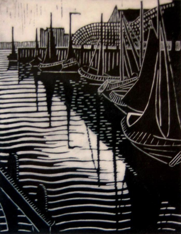 Harbour, Veere - linocut 1929 - Dorothea Foster (Dorrit) Black (1891-1951, Australia)