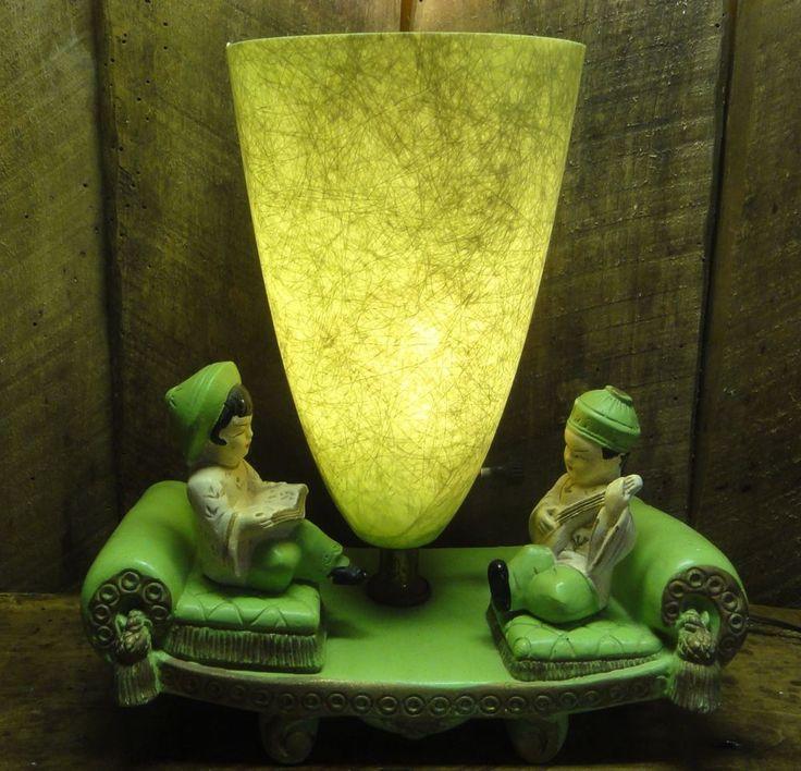 50s CHALKWARE Figural TV LAMP Oriental Green FIBERGLASS SHADE Mid Century  MODERN