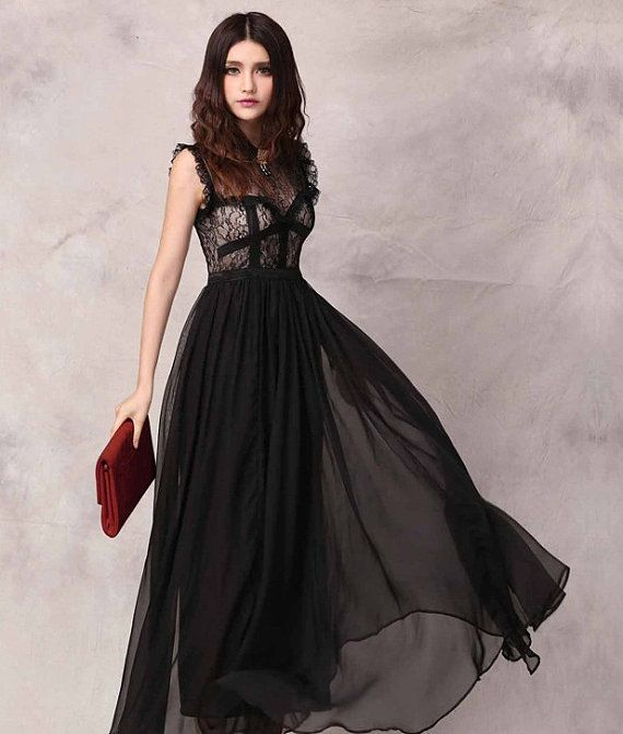 Long evening dresses with lace