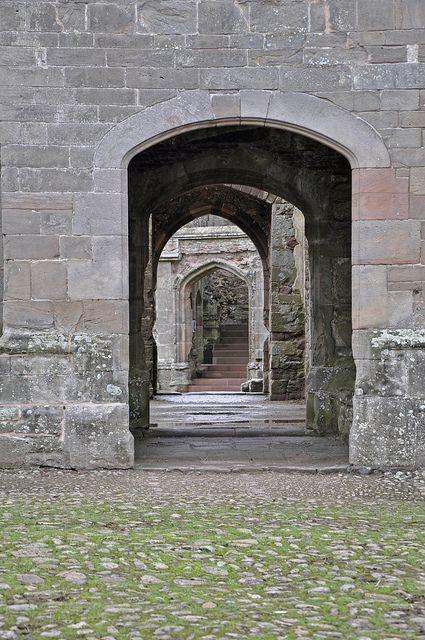 Raglan Castle, Wales| Flickr - Photo Sharing! ... notice each of the doorways have different shapes....makes you want to follow the steps to see more..